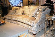 Duresta Hornblower Silver Textured Velvet