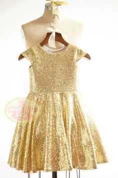 ❀ Welcome to MonbebeLagos Handmade dress shop ❀ The MonbebeLagos Dress is a pure handmade dress with cap sleeves, full gold sequin fabric with soft
