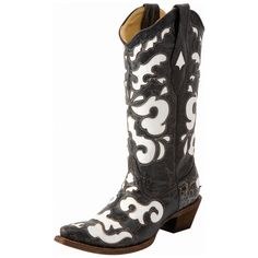 women's cowboy boots + black and white | Home / Boots / Womens Footwear / Cowgirl Boots / Corral Black & White ...