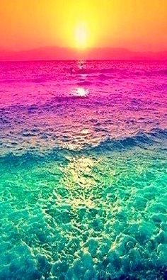 """Sunset with the water's colours altered. It seems like it was simply done using a photo-editing program or something but still it looks neat. It definitely adds a different """"definition"""" to it than it would a regular sunset. Nature Wallpaper, Wallpaper Backgrounds, Summer Wallpaper, Mobile Wallpaper, Colorful Backgrounds, Waves Wallpaper, Trendy Wallpaper, Colorful Wallpaper, Iphone Wallpapers"""