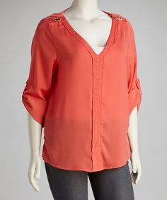 Take a look at this Mango V-Neck Stud Embellished Plus-Size Top by UMGEE U.S.A. on #zulily today!  $24.99, regular 36.00