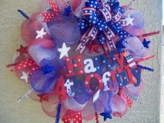 Deco Mesh, 4th of July, Patriotic Wreath, Red White and Blue Wreath, Door Wreath