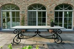 Wrought iron table with hard stone top. I want this table. Wrought Iron Decor, Wrought Iron Gates, Wrought Iron Outdoor Furniture, Outside Living, Outdoor Living, Outdoor Decor, Design Tisch, Iron Furniture, Iron Table