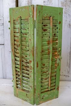 Wooden shutters distressed apple green gold shabby chic recycled cottage wall or table home decor Anita Spero – Modern Painting Shutters, Diy Shutters, Wooden Shutters, Repurposed Shutters, Farm House Colors, Karten Diy, Hanging Jewelry, Farmhouse Chic, Spring Green