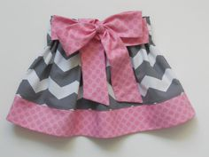 The Sweet Pea Twirl Skirt, Gray Chevron and Light Pink Polka Dots with Bow Sash, custom sizing