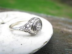 Lovely Edwardian to Art Deco 18K White Gold Filigree Diamond Engagement Ring - Fiery Old Cut Diamond. $499.00, via Etsy.