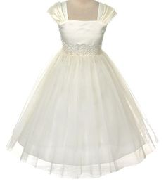 Flower Girl Cap Sleeved Big Girls' White Dress First Holy Communion   Unique fully lined pleated cap sleeve dress. Satin bodice with mesh overlay skirt with lace and bead work trim on the waist. Perfect for Read  more http://shopkids.ca/kids-girl/buy-kid-clothes-jelewery-12