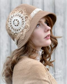Camel and Lace Cloche Hat by Jaya Lee Designs A lovely 1920s style cloche hat made from camel colored fabric and trimmed with vintage lace and