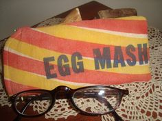 vintage chicken feed sack eyeglass case  Hubbard's EGG by ginnymae, $10.00