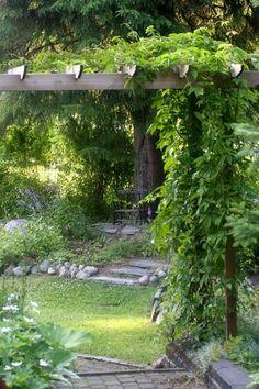 piha,pergola,viherpiha + kuukauden piha Forest Garden, Woodland Garden, Gazebo, Pergola, Outdoor Projects, Shade Garden, Dream Garden, Backyard Landscaping, The Great Outdoors