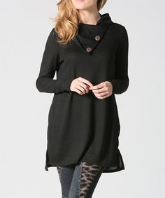 Another great find on #zulily! Black Button-Neck Tunic - Plus #zulilyfinds
