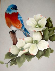 Painted Blue Bird & Dogwoods