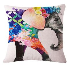 Colorful Elephant Printed Modern Throw Pillow