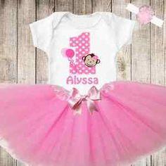 Baby Girls First 1st Birthday Monkey Tutu Personalized Shirt Outfit New   eBay