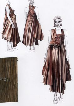Fashion Sketchbook - fashion illustrations for a sculptural dress; Fashion Design Sketchbook, Fashion Design Portfolio, Fashion Sketches, Fashion Illustrations, Fashion Books, Fashion Art, Womens Fashion, Dress Fashion, Illustration Mode
