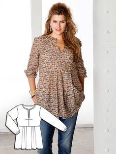 Fastener Free Printed Tunic pattern from Burda Style Tunic Sewing Patterns, Plus Size Sewing Patterns, Tunic Pattern, Clothing Patterns, Dress Patterns, Shirt Patterns For Women, Free Pattern, Burda Patterns, Pattern Sewing