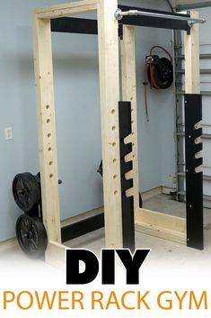 Home Gym Basement, Home Gym Garage, Gym Room At Home, Homemade Gym Equipment, Diy Gym Equipment, Home Made Gym, Diy Home Gym, Squat Rack Diy, Diy Power Rack