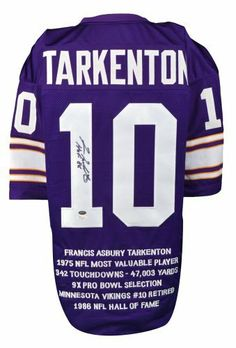 Fran Tarkenton Signed Stat Jersey w/ HOF 86 - JSA Certified - Autographed NFL Jerseys by Sports Memorabilia. $229.99. Fran Tarkenton Signed Stat Jersey w/ HOF 86 - JSA. A Sportsmemorabilia hologram tracks item's provenance and ensures authenticity. It's hard to find pieces like this since Fran Tarkenton doesn't sign very often. We stand behind every item we sell, and you can be sure you're getting value and quality. Sports memorabilia collectors have seen similar items increase...