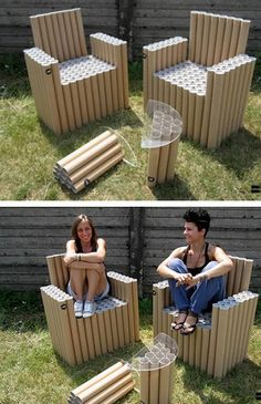 12 Amazing Things Made With Cardboard Tubes - Amazing Things Made With Cardboard Tubes. This would be an awesome STEM project for Amazing Things Made With Cardboard Tubes What exactly can you do with those leftover cardboard tubes? Cardboard Tube Crafts, Cardboard Rolls, Cardboard Crafts, Diy Projects With Cardboard, Cardboard Chair, Diy Cardboard Furniture, Diy Furniture, Cardboard Playhouse, Plywood Furniture