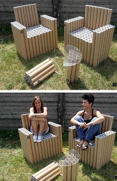 Кресла и столики FanTubes - коллекция мебели из картонных труб от Double-ei