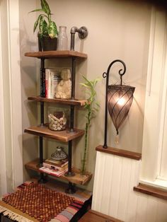 industrial shelves ... hubby made love the lamp