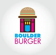 Conceptual logo for Boulder Burger retro burger restaurant Burger Restaurant, Burger Bar, Logo Design, Graphic Design, Portfolio Design, Bouldering, Retro, Portfolio Design Layouts, Retro Illustration