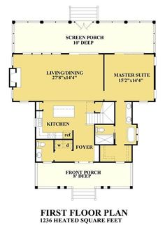Lee Point Cottage - Coastal Home Plans Cabin House Plans, Cottage Floor Plans, Beach House Plans, Cottage House Plans, New House Plans, Small House Plans, House Floor Plans, Cottage Ideas, Beach Cottage Style