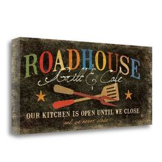 Tangletown Fine Art 'Roadhouse' by Jo Moulton Vintage Advertisement on Wrapped Canvas