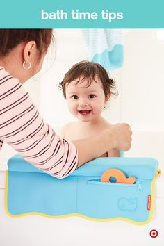 Bath time is a special time to bond and play with your baby. But, leaning over the side of the tub can be hard on your elbows. The Skip Hop Moby Safety Bath Elbow Saver is a soft, foam-padded cushion that securely hangs over the side of the tub. Plus, it has little pockets that can hold rings, watches, whatever. TIP: Pick up the Skip Hop Moby Safety Bath Kneeler and save your knees, too.