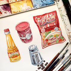 Watercolor Food, Watercolor Drawing, Painting & Drawing, Food Drawing, Drawing Skills, Doodle Sketch, Doodle Drawings, Dessert Illustration, Illustration Art