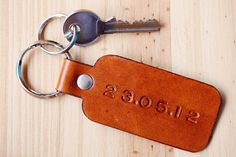 Special Date Leather Key Fob, Custom Leather Keychain, Significant Date Couples Gift, Personalized Leather Anniversary, Anniversary Gift Leather Bookmark, Leather Keyring, Leather Gifts, Leather Anniversary Gift, 3rd Anniversary Gifts, Personalised Keyrings, Personalized Gifts, Handmade Gifts, Romantic Gifts