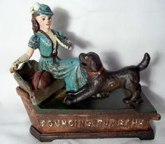 Vintage Cast Iron Pouncing Pup Bank Mechanical Bank | eBay