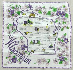 Wisconsin State Handkerchief Violets Vintage Never Used Map Cities Hanky Cotton…