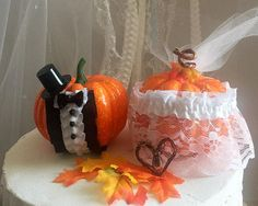 Fall Pumpkin Wedding Cake Topper Adirondack Chair Decor
