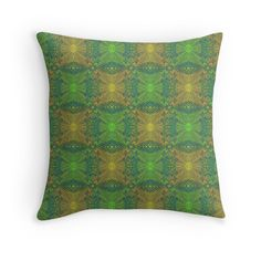 """""""""""Oak King"""", bohemian pattern in yellow and green tones"""" Throw Pillows by clipsocallipso 