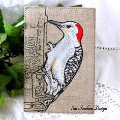 """RED-BELLIED WOODPECKER Stitched Fabric Postcard/Greeting Card/Mini Art Quilt, Textile Art, Fiber Bird Art, Hand-painted & Quilted 4"""" x 6"""""""