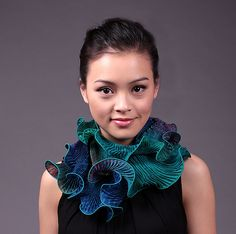 Infinity Scarf in Aqua and Turquoise by Min Chiu and Sharon Wang: Silk Scarf available at www.artfulhome.com