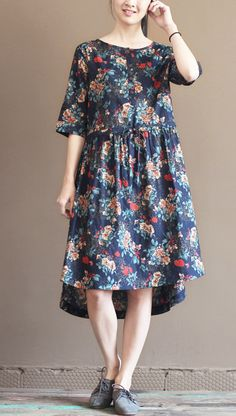 2016 linen sundress. New design. Navy cotton floral sundress plus size maternity dresses