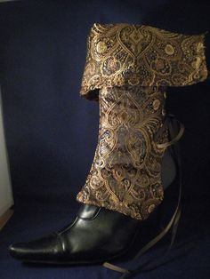Ankle boot covers!    Brpwn Brocade Steampunk Lace Up Spats by ChelseaEden on Etsy, $45.00