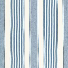 Summerville Linen Stripe | 66090 in Ocean | Schumacher Fabric