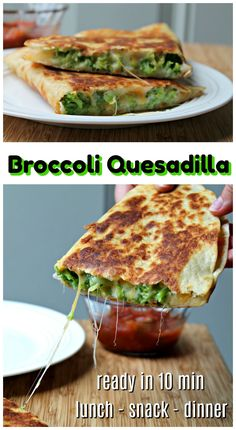 Who doesn't love the combo of broccoli & cheese, right?! This cheesy broccoli quesadilla is ready in about 10 minutes making it a wonderful option for lunch, after-school snack or pair with rice and make it dinner! It really works for any meal or even as a party appetizer. Lunch Snacks, Lunch Recipes, Mexican Food Recipes, Appetizer Recipes, Beef Recipes, Vegetarian Recipes, Cooking Recipes, Appetizers, School Snacks