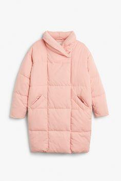 Monki Image 1 of Puff coat in Orange Reddish Light
