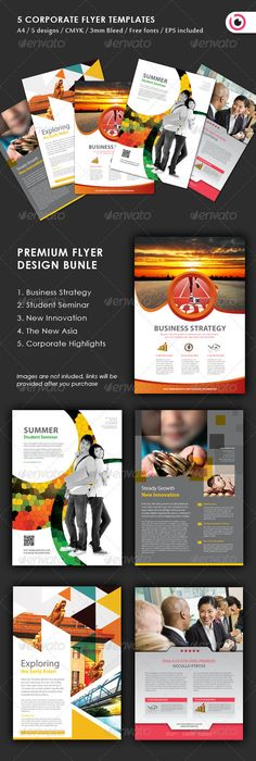 5 #Flyer Design #Templates - Corporate Flyers Download here: https://graphicriver.net/item/5-flyer-design-templates/3370157?ref=alena994