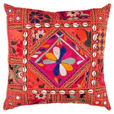 Multicolor patchwork pillow with lace and shell accents. Made in India.  Product: PillowConstruction Material: C...