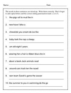 jumbled sentences exercise with answers for class 10 pdf
