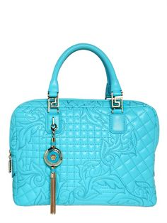 VERSACE - DEMETRA QUILTED NAPPA LEATHER TOP HANDLE HANDBAG