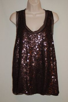 Joie Sequins Top L Brown Black Sleeveless Lace Overlay