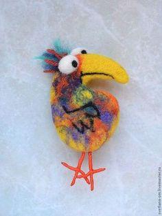 """Броши ручной работы. Ярмарка Мастеров - ручная работа Валяные броши """"Птички"""". Handmade."""