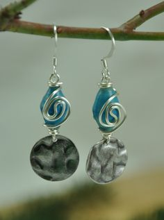 Blue wire wrapped paper bead earrings with steel drops - paper bead jewelry. $17.00, via Etsy.