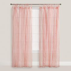 Crafted of cotton voile in a romantic pink hue, our exclusive tie-top curtains filter light while providing privacy and adding a crinkle texture.…